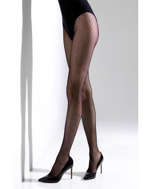 Natori - Black Herringbone Net Tights - Lyst