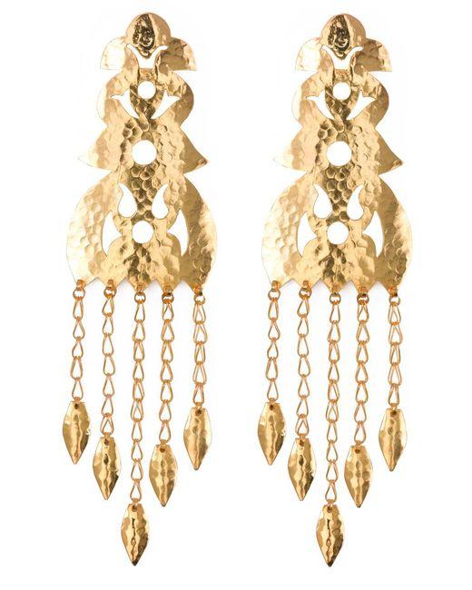 Natori   Metallic Hammered Gold Long Earrings   Lyst
