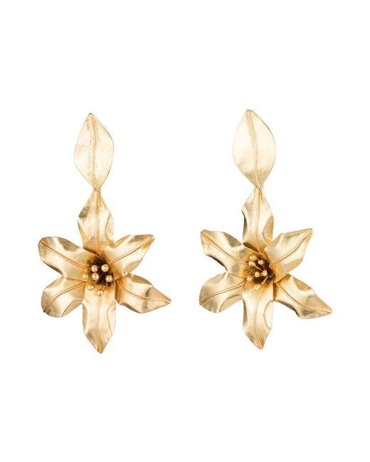 Natori - Black Josie Brass Floral Drop Earrings - Lyst