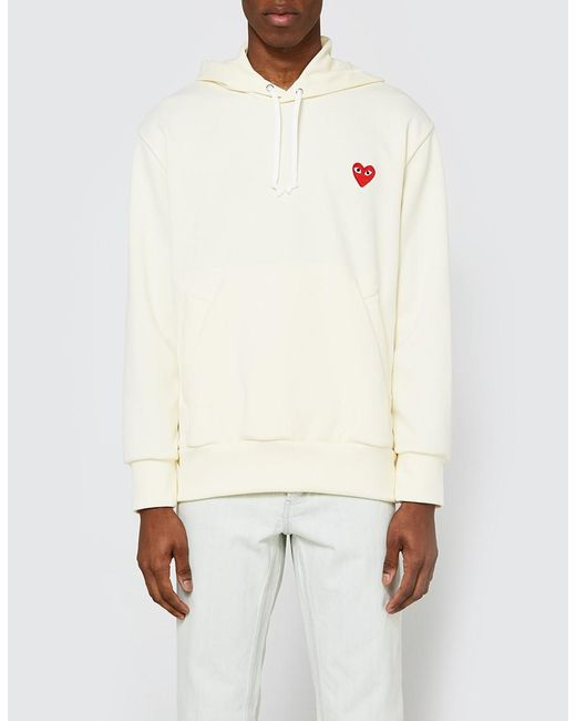 Play comme des garçons Play Hooded Sweatshirt in White for Men | Lyst