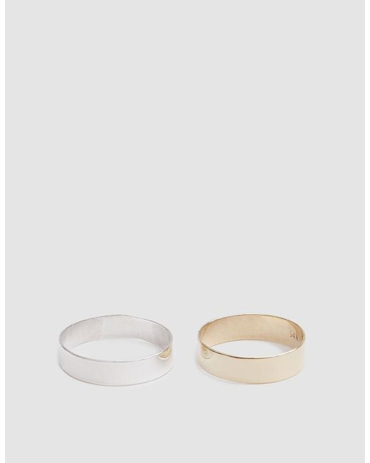 Loren Stewart - Metallic Set Of Two Silver & Gold Band Rings - Lyst