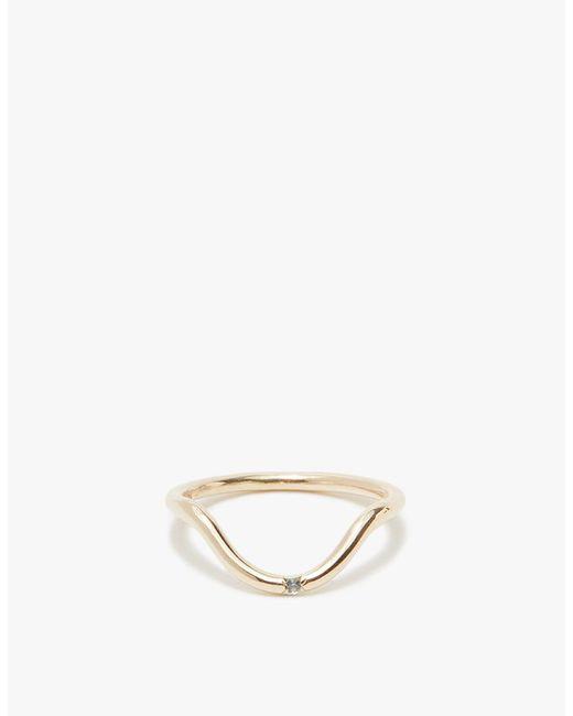 Mociun   Metallic Single Stone Ring In Curved Sapphire   Lyst