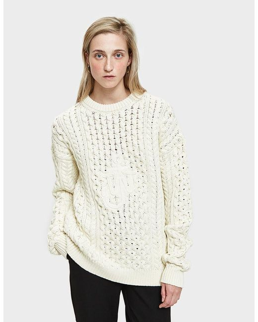 J.W. Anderson - White Cable Jumper With Embroidery - Lyst