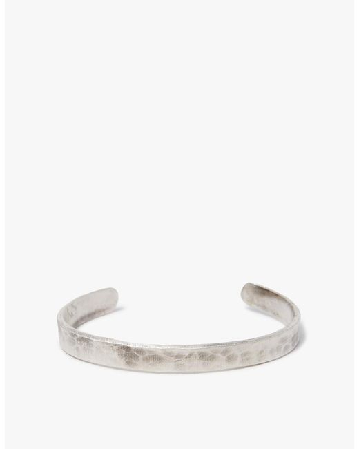 Cause and Effect - Metallic Flat Silver Hammered Cuff for Men - Lyst