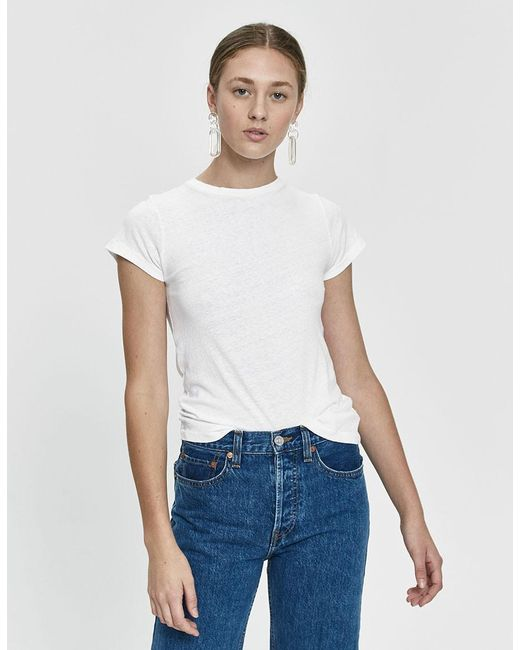 219d4838 Re/done - White Hanes 1960s Slim Tee - Lyst ...