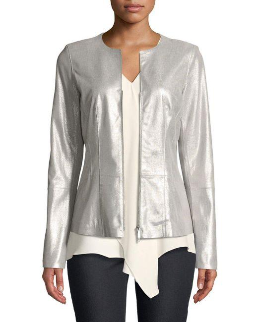 Lafayette 148 New York - Gray Maris Metallic-weave Leather Jacket - Lyst