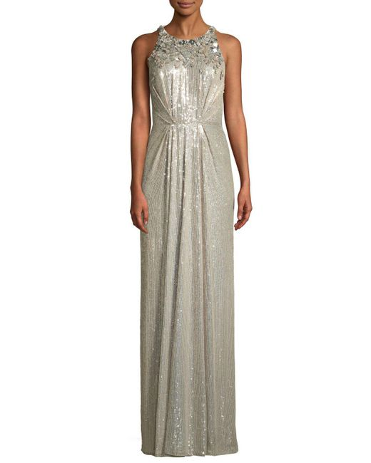 Lyst - Jenny Packham Sleeveless Sequined Gathered-waist Evening Gown ...