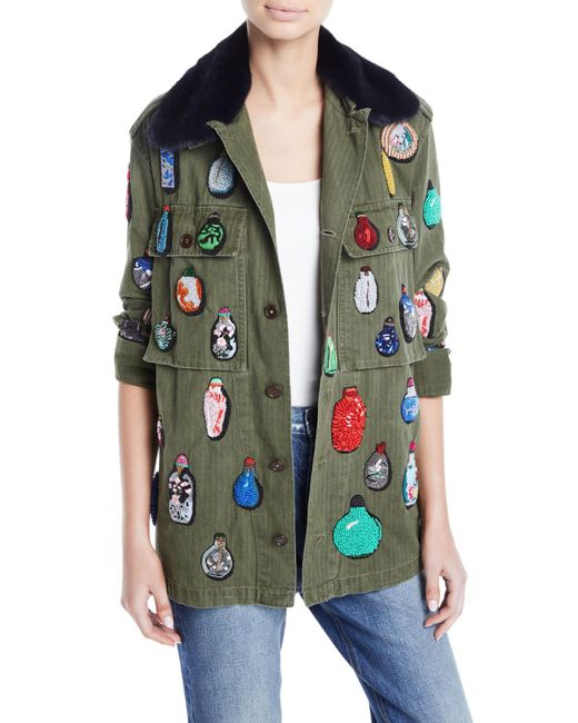 Libertine - Green Button-front Cotton Jacket W/ Beaded Ornament Detail - Lyst