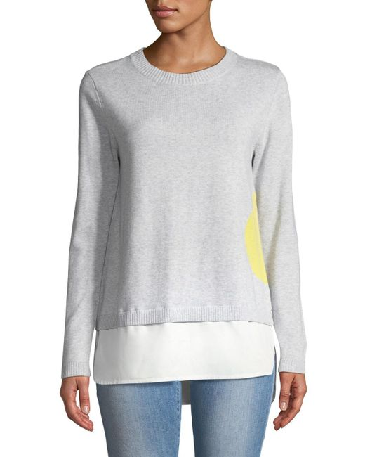 Lisa Todd - Gray Dot Sweater With Shirting Hem - Lyst