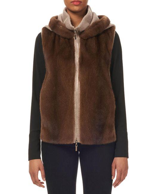 Gorski - Brown Hooded Mink-fur Wool-cashmere Vest - Lyst