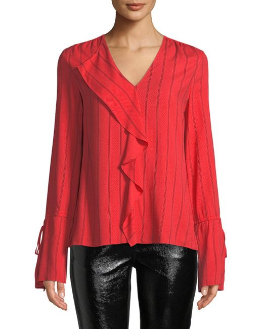 10 Crosby Derek Lam - Red Striped V-neck Ruffle Long-sleeve Blouse - Lyst