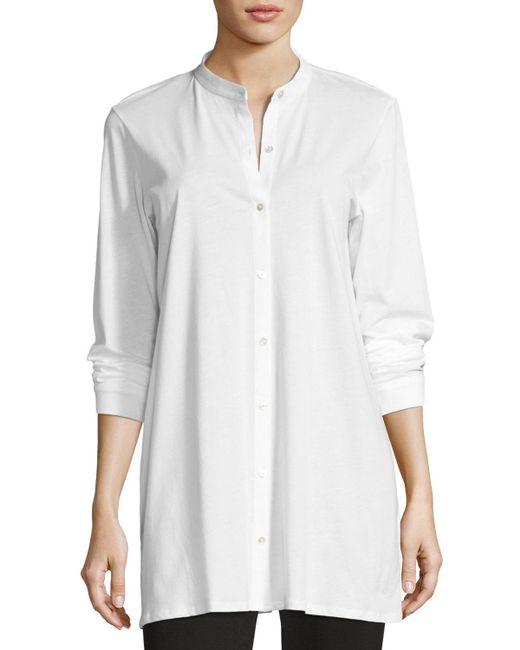 Eileen Fisher | White Mandarin-collar Easy Organic Jersey Tunic | Lyst