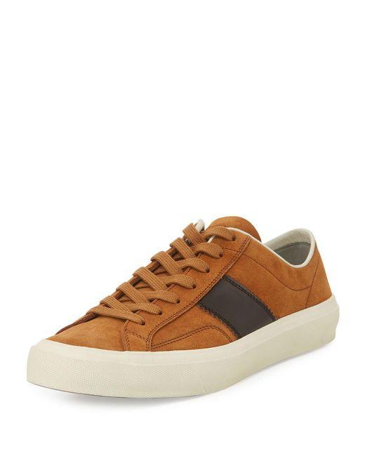 Tom Ford | Brown Cambridge Suede Striped Low-top Sneaker for Men | Lyst
