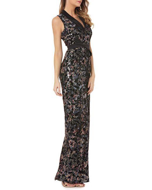 Kay Unger - Black Velvet Print Gown - Lyst