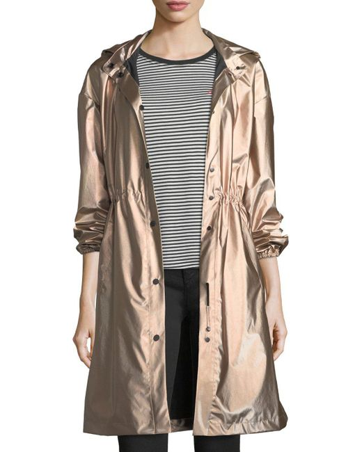 Emporio Armani - Pink Snap-front Hooded Anorak Coat - Lyst