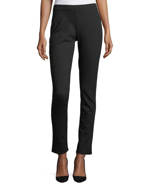 Eileen Fisher - Black Slim Ponte Pants - Lyst