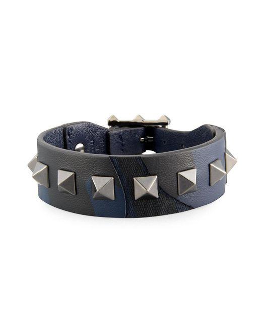 Valentino | Green Men's Rockstud Camo Leather Bracelet for Men | Lyst