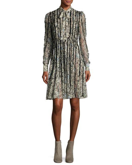 Valentino | Black Floral Waves Fringe-trim Silk Tie-neck Shirtdress | Lyst