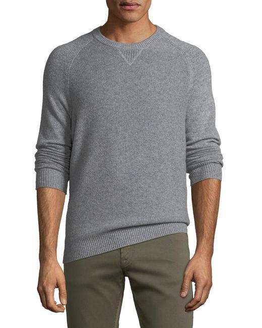 Neiman Marcus - Gray Men's Tuck-stitch Cashmere Crewneck Sweater for Men - Lyst