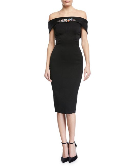 Zac Posen - Black Off-the-shoulder Embroidered Sheath Dress - Lyst