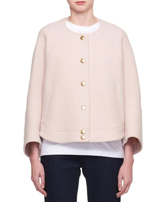 Chloé - Pink Snap-front Wool-blend Short Bomber Coat - Lyst