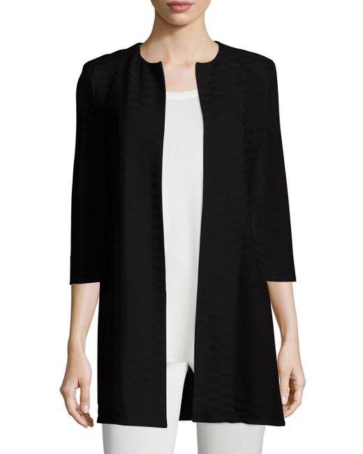 Misook - Black Long Textured-Crepe Jacket - Lyst