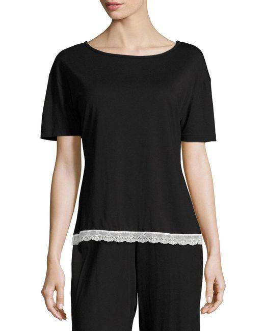Cosabella - Majestic Lace-trim Lounge Top Black/white - Lyst
