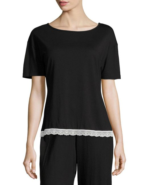 Cosabella - Black Majestic Lace-trim Lounge Top - Lyst