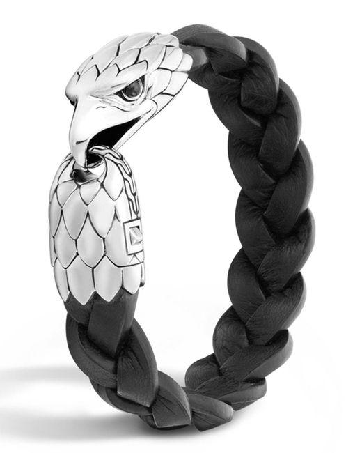 John Hardy - Metallic Men's Silver Eagle Head Leather Bracelet for Men - Lyst