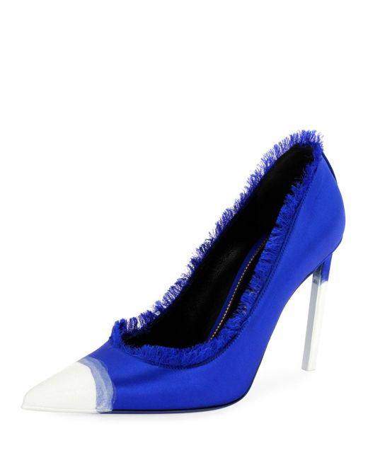 Tom Ford - Blue Fringed Satin Cap-toe Pumps - Lyst