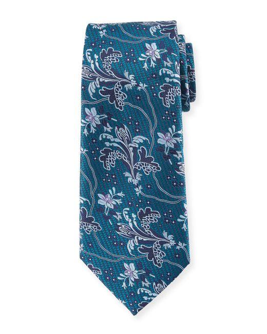 Ermenegildo Zegna - Blue Large Floral Silk Tie for Men - Lyst