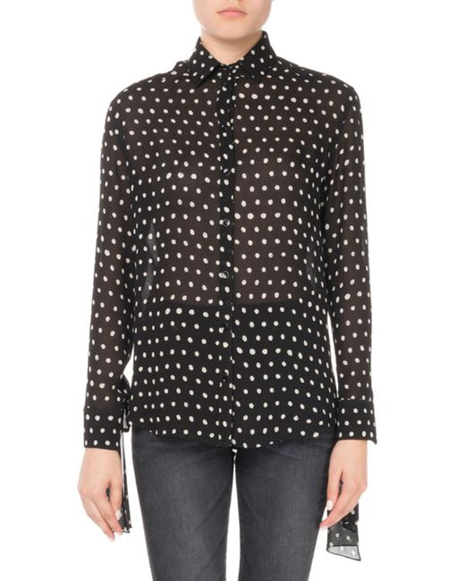 Saint Laurent - Black Lipstick Dot Silk Tie-sleeve Blouse - Lyst