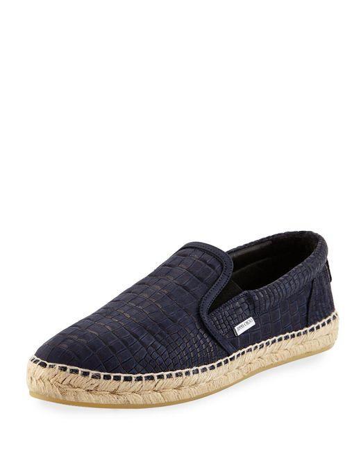 Jimmy Choo | Blue Vlad Men's Crocodile-print Espadrille Slip-on Sneaker for Men | Lyst