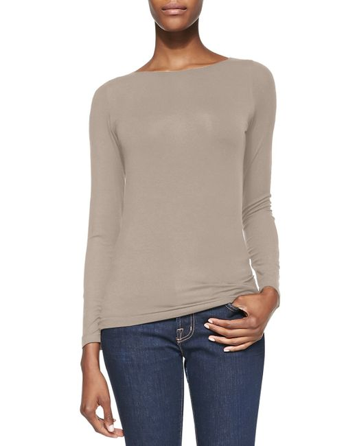 Neiman Marcus | Natural Soft Touch Marrow-edge Long-sleeve Top | Lyst