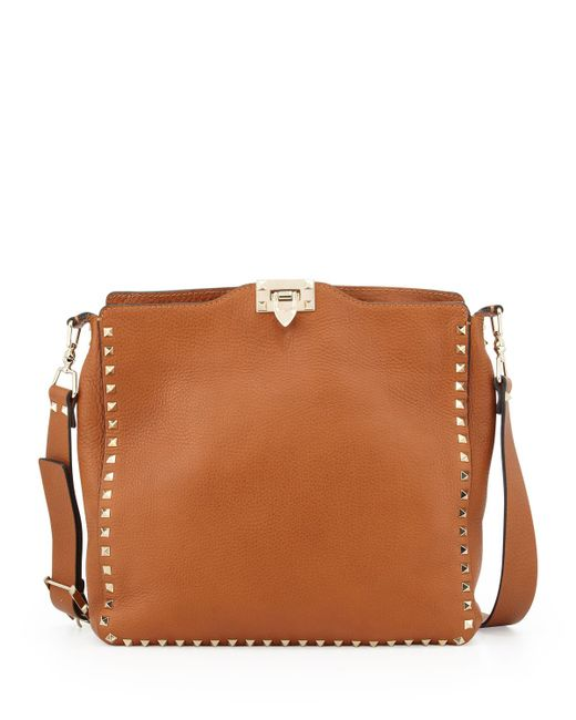 Valentino Rockstud Medium Flip Lock Hobo Bag In Brown