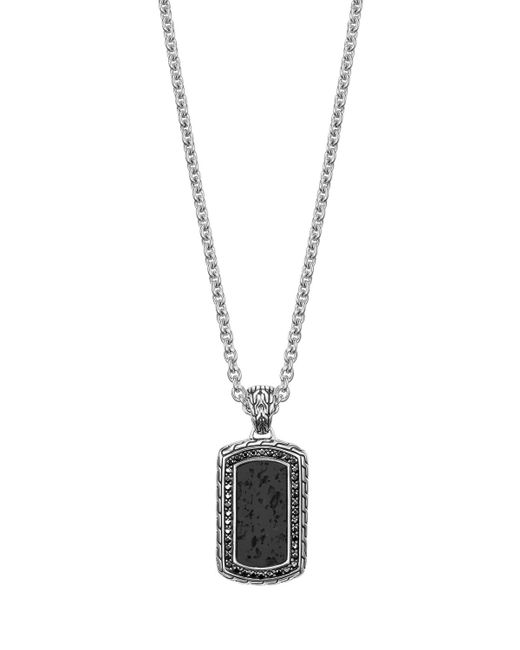 John Hardy | Black Batu Classic Chain Volcanic Dog Tag Pendant Necklace | Lyst