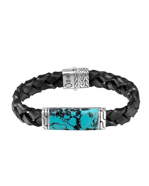 John Hardy | Blue Woven Station And Turquoise Stone Bracelet for Men | Lyst