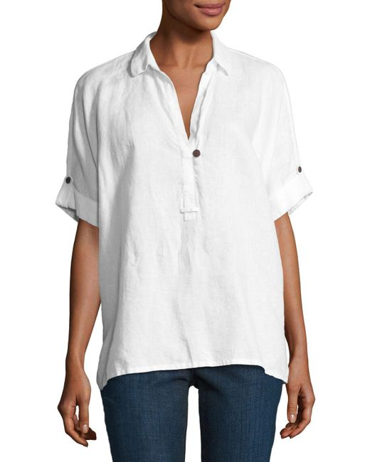 Go> By Go Silk | Natural Oversized Short-sleeve Linen Tunic | Lyst