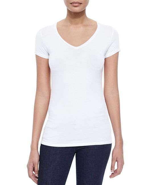 Neiman Marcus | White Soft Touch Short-sleeve V-neck Tee | Lyst