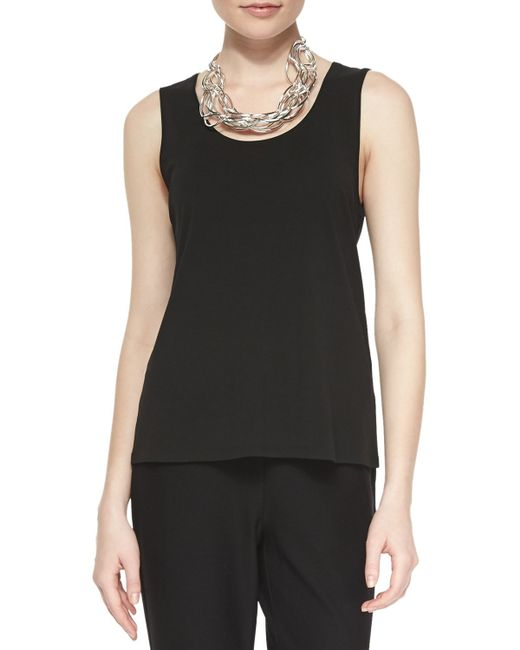 Eileen Fisher | Black Stretch Silk Jersey Tank | Lyst