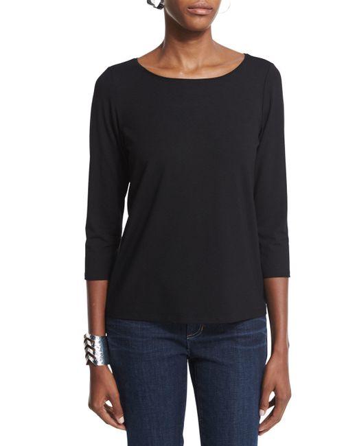 Eileen Fisher   Black 3/4-sleeve Cotton Tee   Lyst