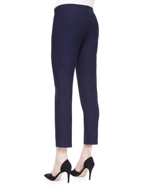Eileen Fisher | Blue Stretch-crepe Ankle Pants | Lyst