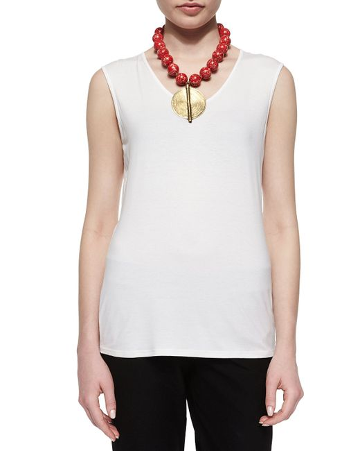 Eileen Fisher | White Sleeveless Jersey Tee | Lyst