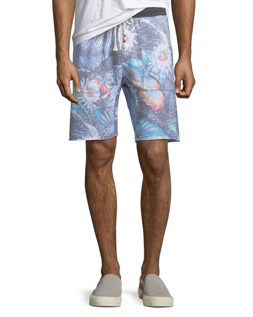 Sol Angeles - Blue Men's Floral-print Knit Shorts for Men - Lyst