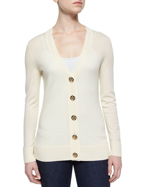 Tory Burch | White Simone Button-front Wool Cardigan | Lyst