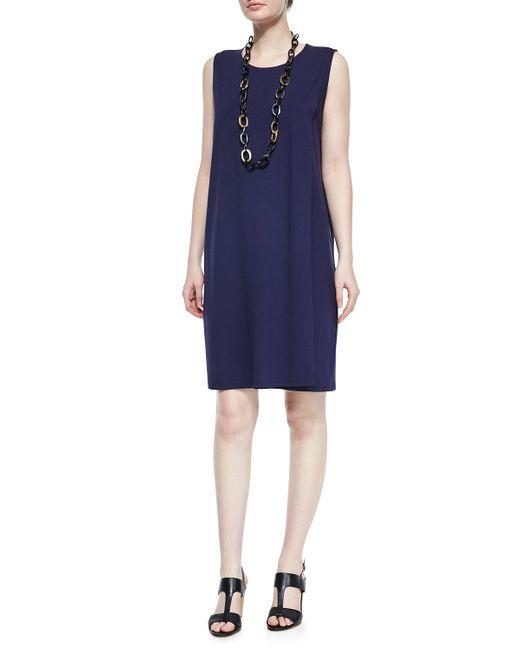 Eileen Fisher | Blue Sleeveless Faux-wrap Jersey Dress | Lyst