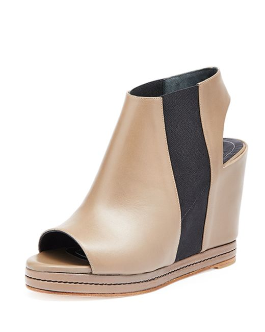 balenciaga open toe leather wedge boots in lyst