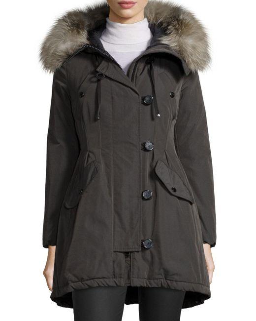 Moncler | Green Arriette Fur-trim Puffer Coat | Lyst