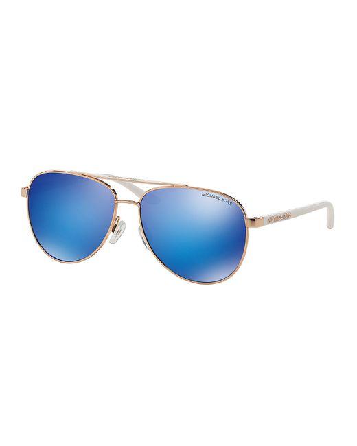 Michael Kors | Blue Aviator Metal Mirrored Sunglasses | Lyst