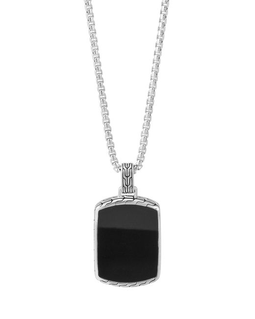 John Hardy | Metallic Men's Classic Chain Black Jade Tag Box-chain Necklace for Men | Lyst